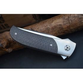 couteau pliant Flipper Châssis Titane gr5 massif Lame Elmax manche en Ligtening-strike Roulements céramique